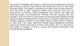 Impact of Working Capital Management on Financial Performance The case of Vietnam IJAEFA  3, 1 ,15 2