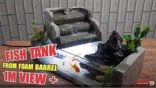 Hướng dẫn cách làm bể cá mini từ thùng xốp có thác nước đơn giản