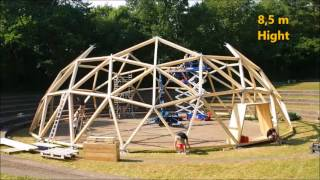 assembly of geodesic dome hall - time-lapse video - festspielhaus munich