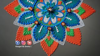 Diwali special rangoli | Easy yet beautiful rangoli design for festivals | Sneha J |