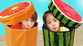 어디에 숨을까요?!! 서은이의 수박 오렌지 쿠션 박스 숨바꼭질 슬라임 Watermelon Orange Box and Slime