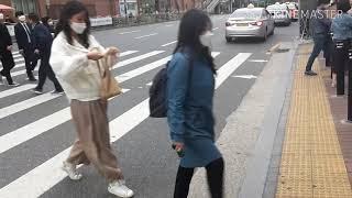 외국인들 동서울터미널앞 신호등 자동점멸기