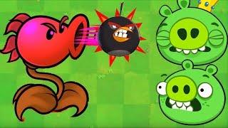 Angry Birds vs Zombies - PEASHOOTER SHOOTING ANGRY BIRDS TO KING PIG!