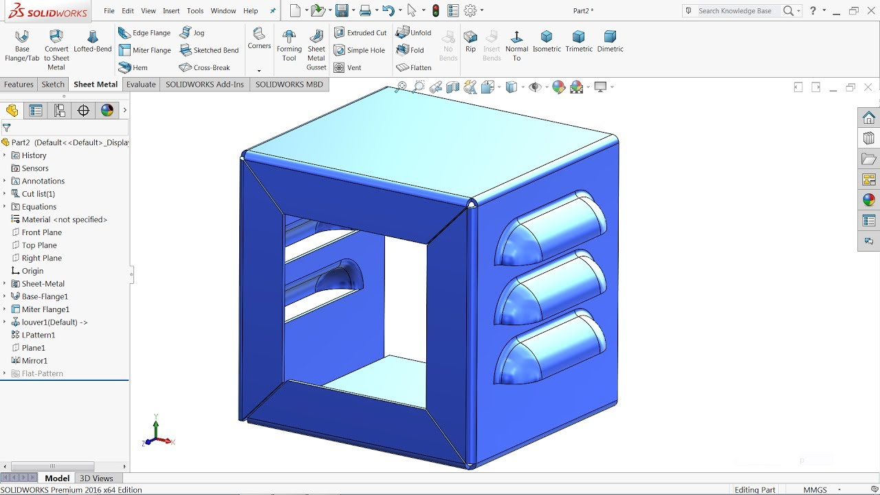 Solidworks Tutorial Sheet Metal Box Using Louver Tool In