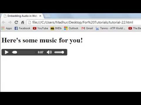 HTML Tutorial - Embedding Audio In Web Pages