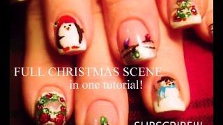 10 Nail Art Tutorials | Diy Easy Christmas Nail Designs | Full Xmas Scene With Bling