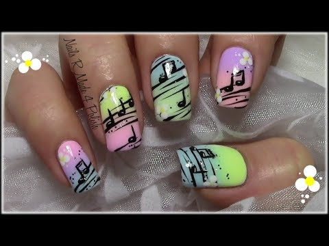 Summery Music Note Nail Art Design with Flowers / Pastel Nails
