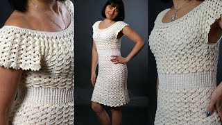 Платье летнее крючком ВОЗДУШНЫЕ ВЕЕРА(мастер-класс №1).Dress crochet, part 1. English subtitles.