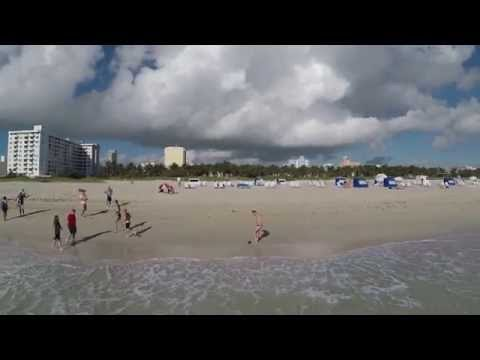 Drone flying in Miami, Miami Beach and Haulover Beach