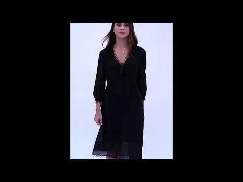 Video: Elegancka szyfonowa sukienka z gipiurą midi