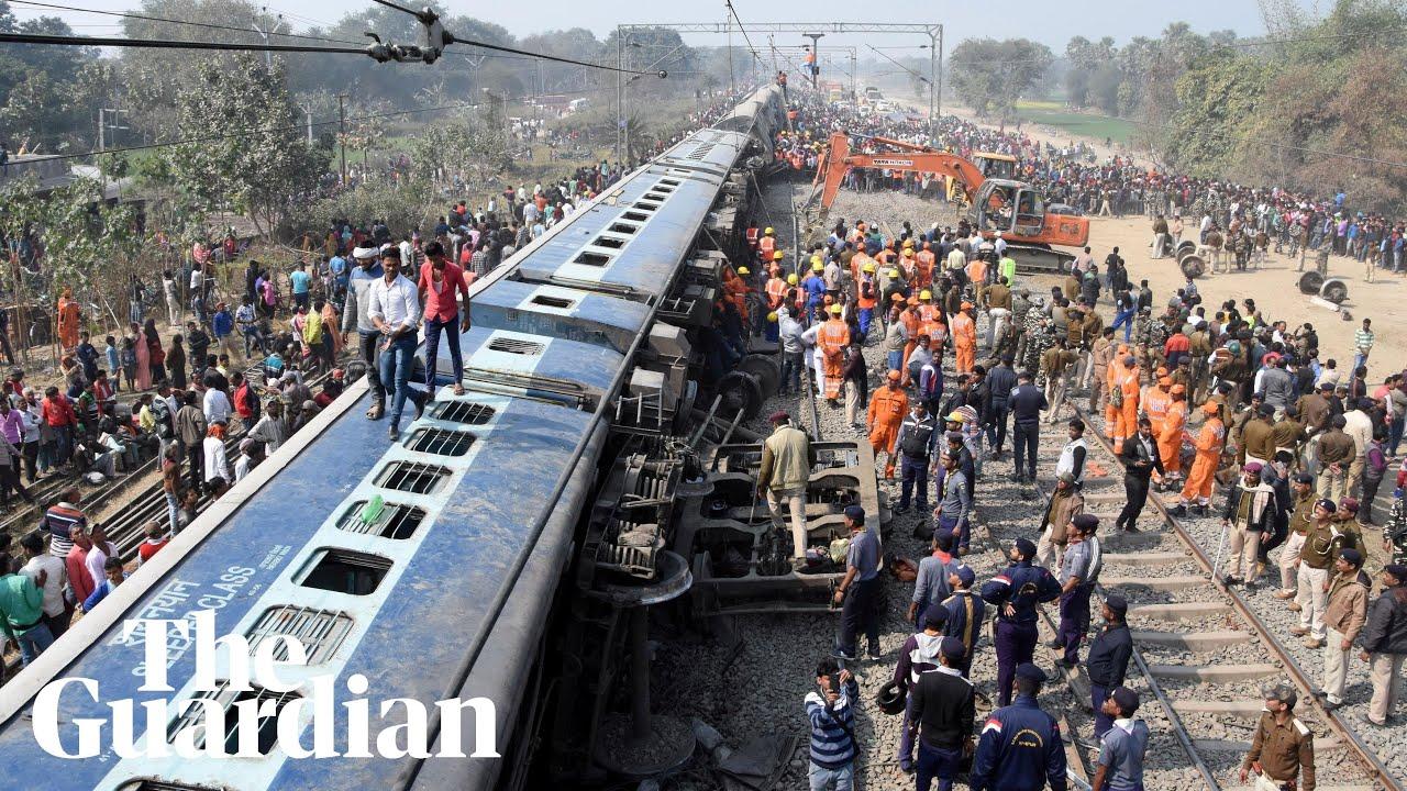 Train derailment in India kills seven people – video
