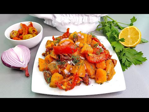 Рецепт - Оближешь Пальчики! / Теплый и Сытный Салат с Бататом и Вялеными Помидорами Вместо Мяса