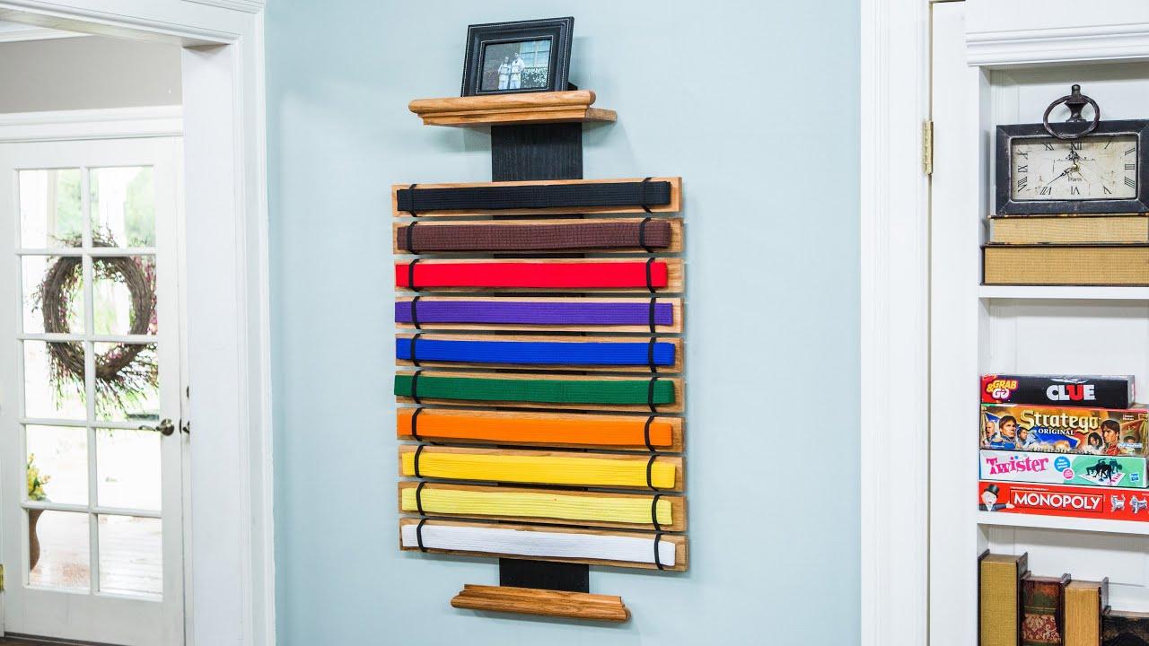 10 Level Martial Arts Belt Display Wall Rack Holder for Karate Tae Kwon Do Belts