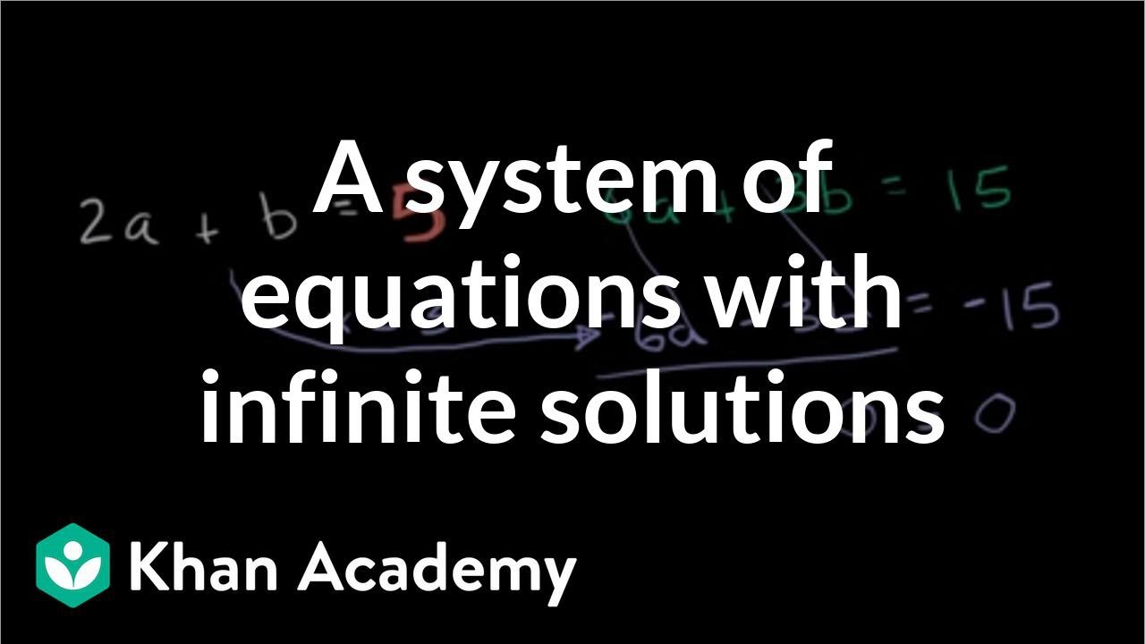 Infinite solutions to systems | Systems of equations and inequalities | Algebra II | Khan Academy