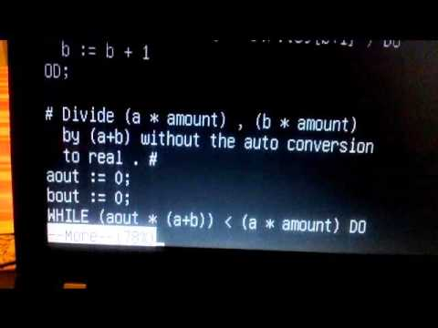 ALGOL 68 Program to divide a number by ratios.