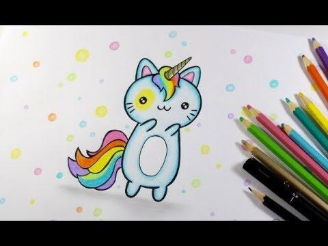 Como Desenhar Um Gatinho Unicornio Kawaii Passo A Passo Youtube