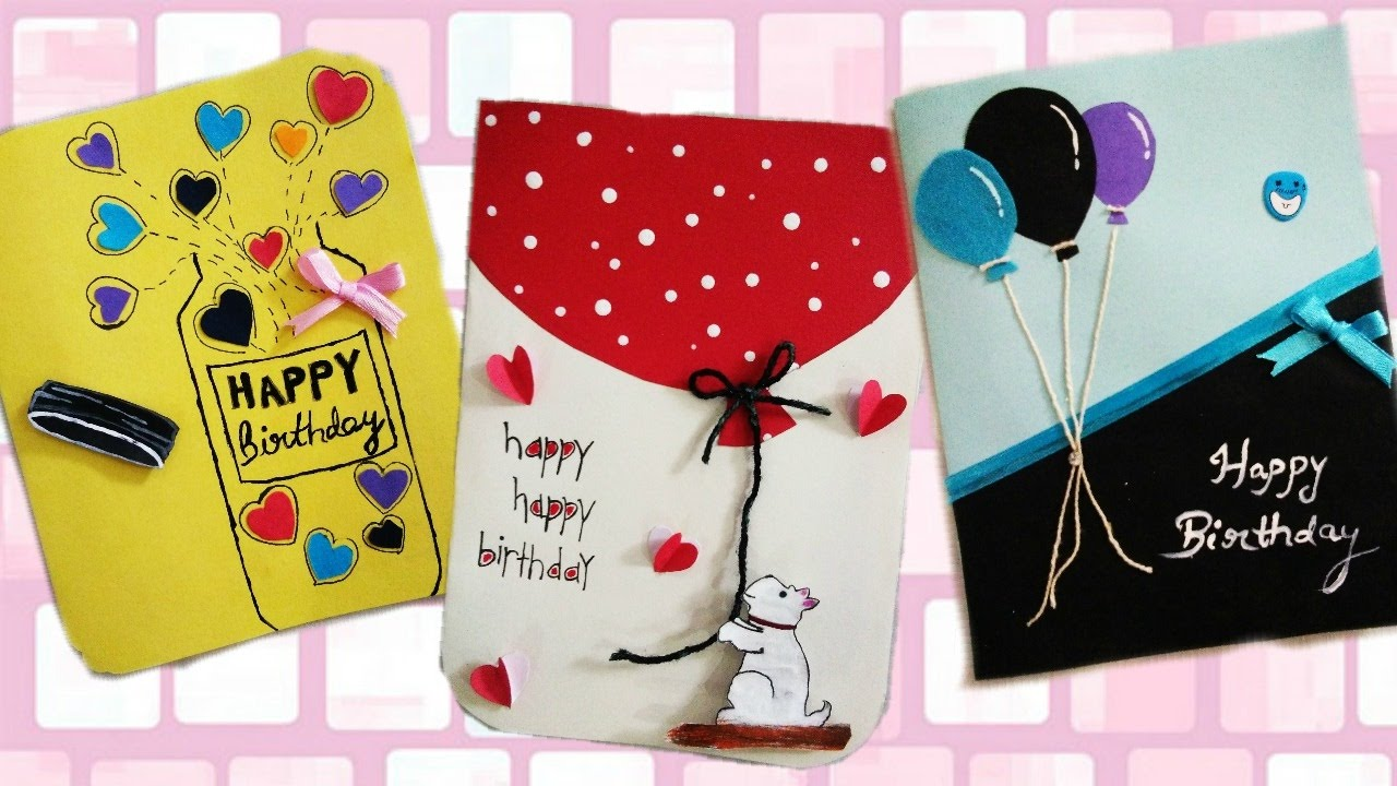 Diy How To Make Simple And Easy Birthday Greeting Cards Youtube