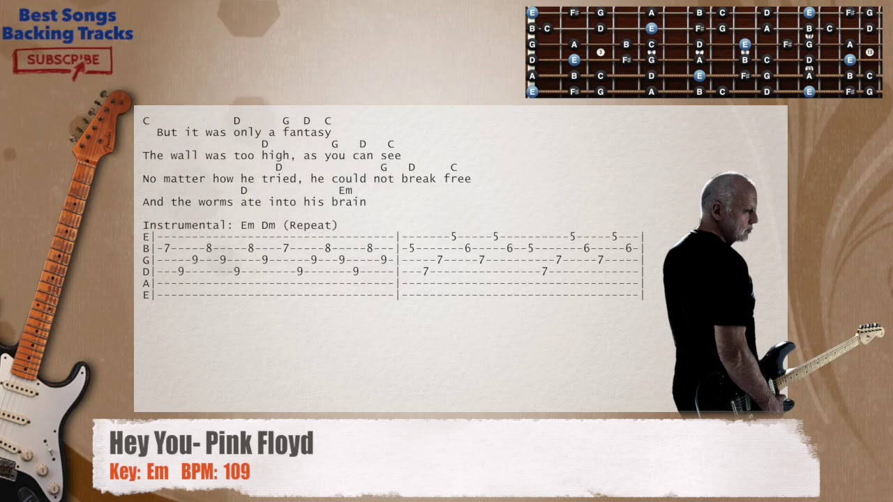 Hey You Pink Floyd Guitar Backing Track With Chords And Lyrics