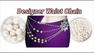 Trendy waist chain making with pearl beads