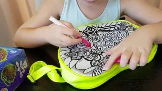 Kids video: Yasmina coloring her new bag. Hearts flowers! Color me mine!