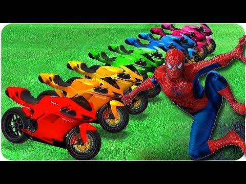 Человек паук цветной мотоцикл Цветные мотоциклы и человек-паук игрушки для детей с музыкой