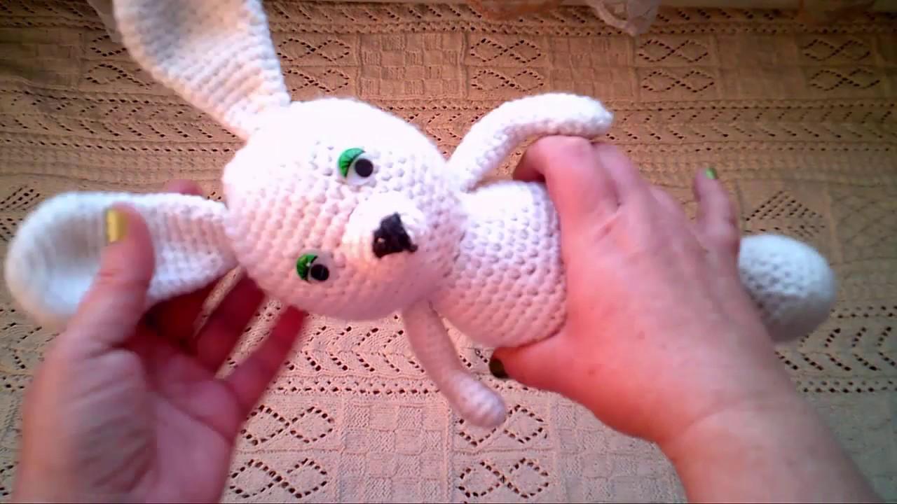 вязание крючком игрушка заяц Crochet Rabbit часть 9 Youtube