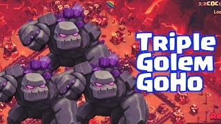 [TH9] Triple Golem GoHo compilation with low level heroes?