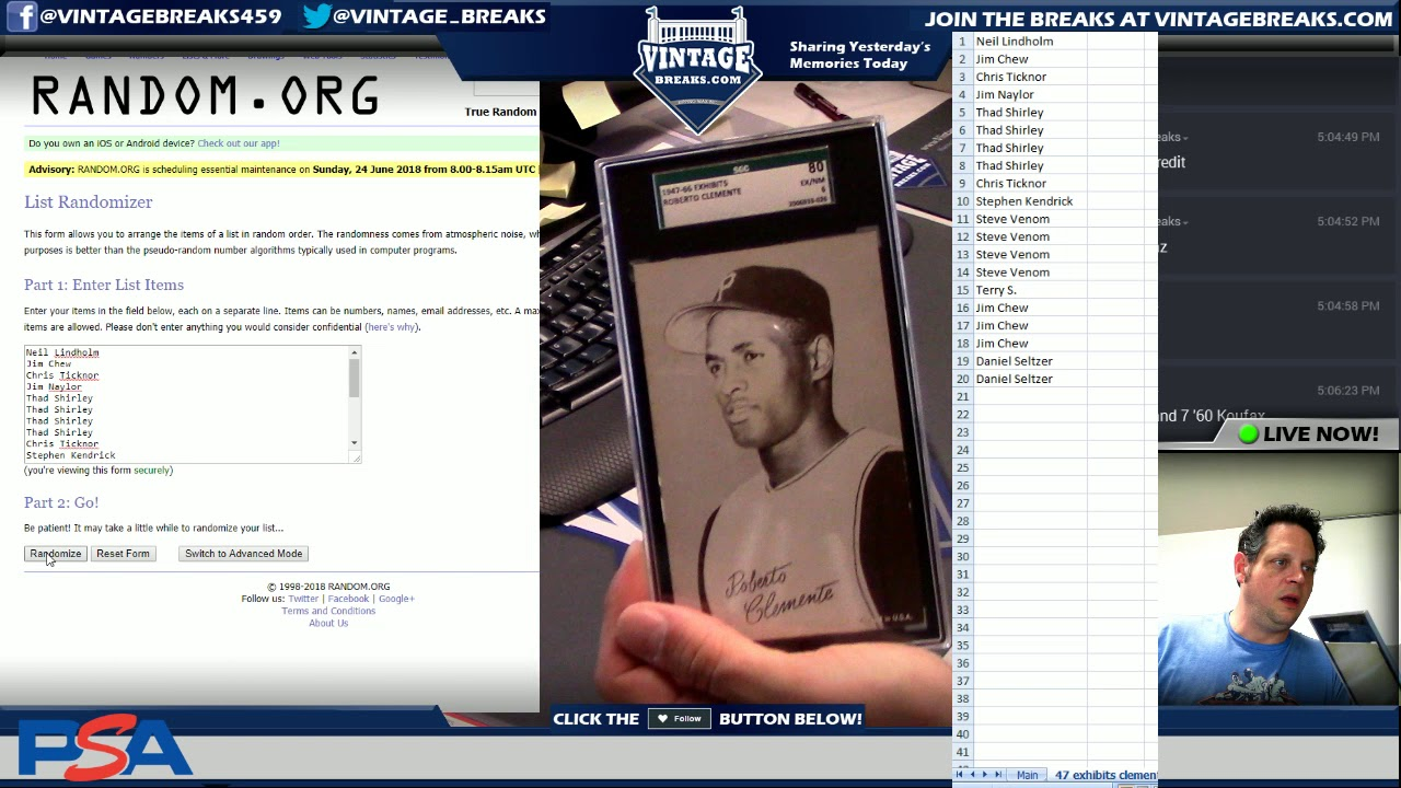 62218 1947 1966 Exhibits Roberto Clemente Baseball Card Giveaway