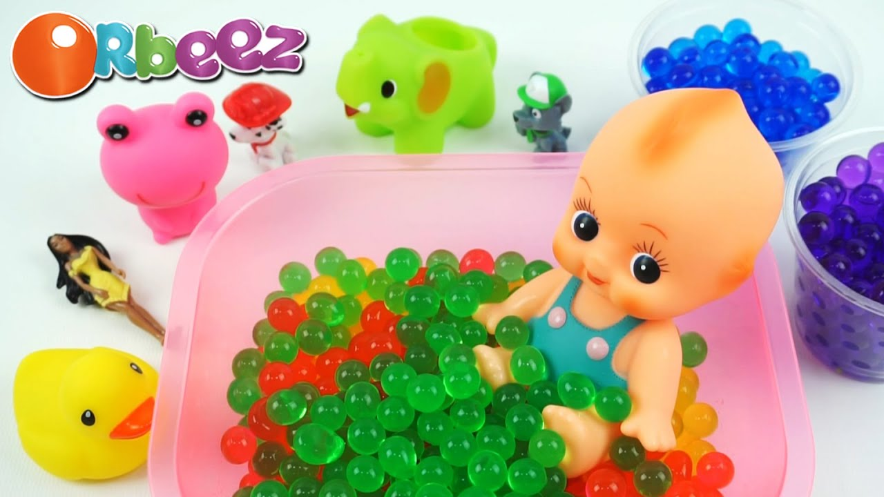 Learn Colors Baby Doll Bath Time With Orbeez And M M