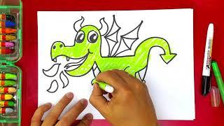 как нарисовать ДРАКОНА маленького дракончика урок рисования