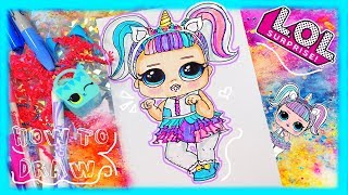 How to draw this SUPER CUTE L.O.L Surprise doll UNICORN 🦄 from seri...