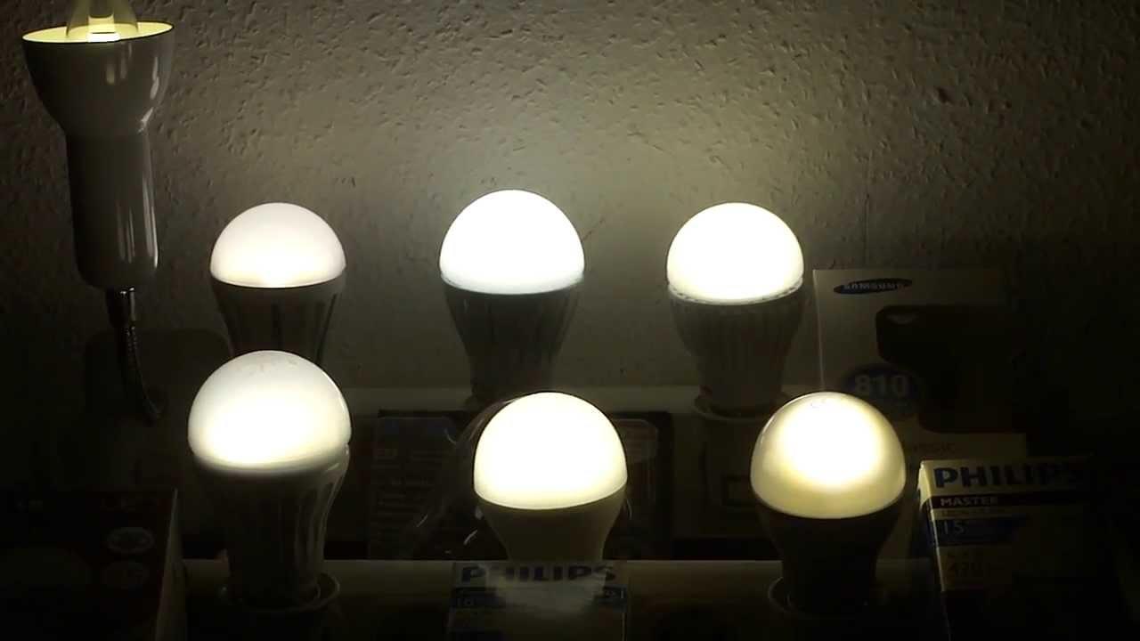 led lampen vergleich teil2 vergleiche die helligkeit und farbtemperatur von led lampen youtube. Black Bedroom Furniture Sets. Home Design Ideas