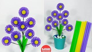 Bunga dari SEDOTAN MINUMAN PLASTIK   Drinking Straw Flower Craft