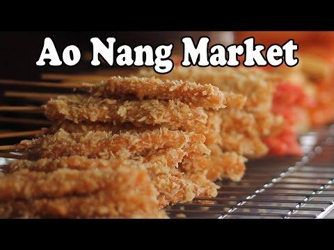 Thai Street Food at an Ao Nang Market. Food Shopping in Thailand. Thai Food Ao Nang Krabi Thailand