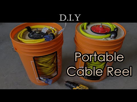 How To DIY Homemade A Portable Cable Reel Like Quickwinder (Reel-A-Pail) For 100 Ft. 12 Gauge Cable?