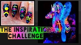 The Inspiration Challenge | Funky Festival Freehand Glow In The Dark Nail Art