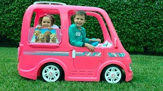 Katy and Max ride on Van with animals