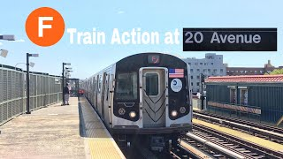 IND West End Line: R160 (F) Train Action at 20th Avenue