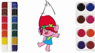 Trolls Movie Coloring Princess Poppy Defending Injured Branch - Trolls Transformation Color