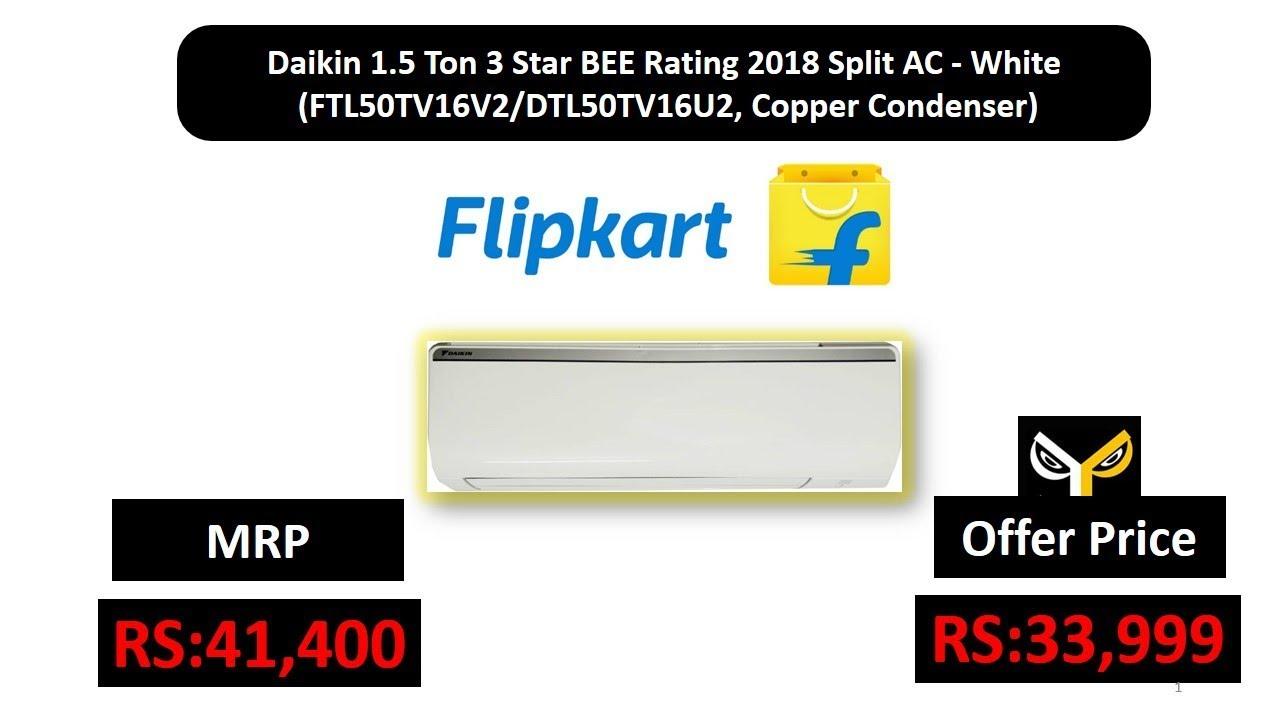 0f66a498943 Daikin 1.5 Ton 3 Star BEE Rating 2018 Split AC - White  (FTL50TV16V2 DTL50TV16U2