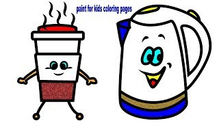 Glitter Tea Sets Drawing and Coloring, How to Draw Tea Set for Children, Videos for Toddlers