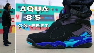 """Aqua"" Jordan 8 W/ On Foot Review 2015 #EARLY"