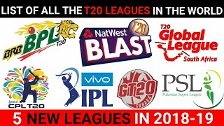 LIST OF ALL THE T20 FRANCHISE LEAGUES | WHICH IS THE MOST POPULAR T20 LEAGUE | IPL 2019 ,PSL,APL,T10