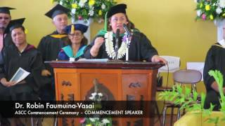 Dr. Robin Faumuina-Vasai encourage the Class of 2016 for ASCC