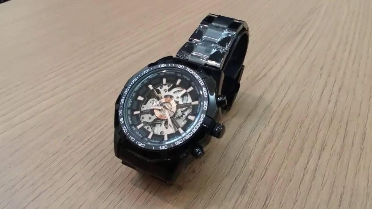 058d3652710 Relógio Masculino Esqueleto Movimento Mecânico Preto - YouTube