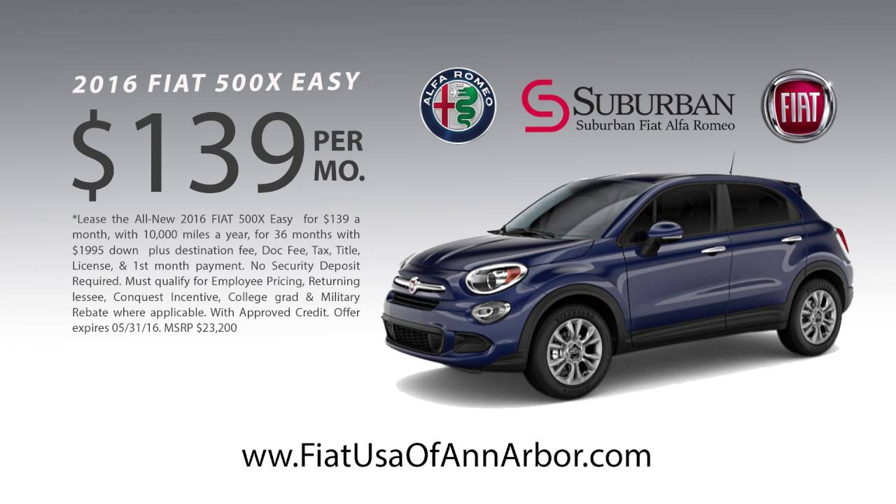 FIAT X Lease Offer At Suburban FIAT Of Ann Arbor YouTube - Fiat lease special