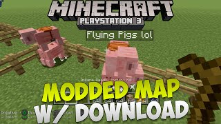 Minecraft PS3: Modded World Showcase W/ DOWNLOAD | Parachute & Flying Pigs, Charged Creepers & More!