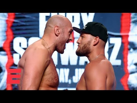 Tyson Fury Gets In Tom Schwarzs Face At Pre Fight Weigh In Top Rank Boxing