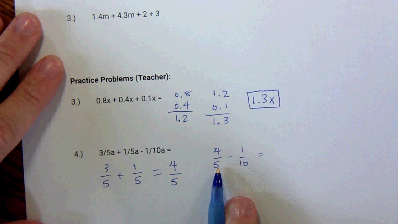 Attractive Simplifying Algebraic Expressions Worksheets 8th Grade ...
