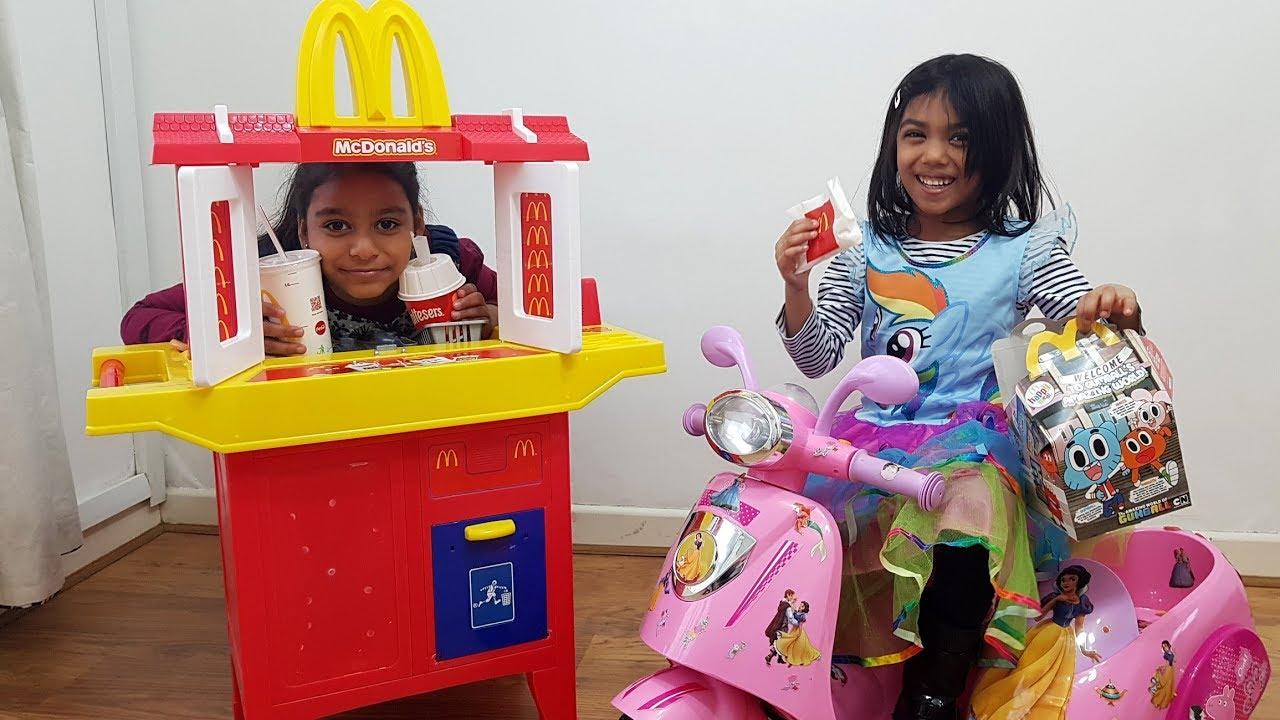 Mcdonald S Drive Thru Kids Pretend Play Toy Kitchen Playset W Pink Peppa Pig Motorbike Power Wheels
